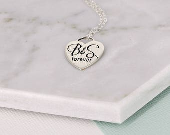 """Couple initials necklace • Sterling personalized """"Tiffany"""" style heart necklace • forever necklace  • Stunning sterling silver necklace"""