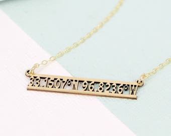 Personalized coordinates necklace • Layering necklace • Sterling Silver or Gold-filled option • Coordinates bar necklace • Location jewelry