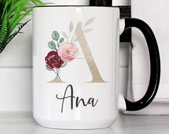 Personalized Mug   Personalized Name Coffee Cup   Initial Mug   Floral Gold Color Letter with Name Mug   Gift for Friend   Birthday Gift