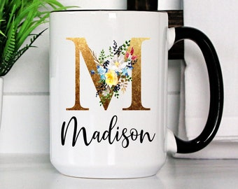 Personalized Coffee Mug   Personalized Name Coffee Cup   Initial Mug   Gold Brown Initial with Flowers Mug   Gift for Friend   Birthday Gift