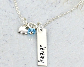 Personalized vertical name bar necklace w birthstone crystal and slanted heart •  Personalized Necklace •  Mother Necklace - Name Necklace