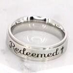 Redeemed ring • Custom Message Ring for her • Engraved christian ring • Baptism ring • Stainless Steel ring • Ring for him • Communion ring