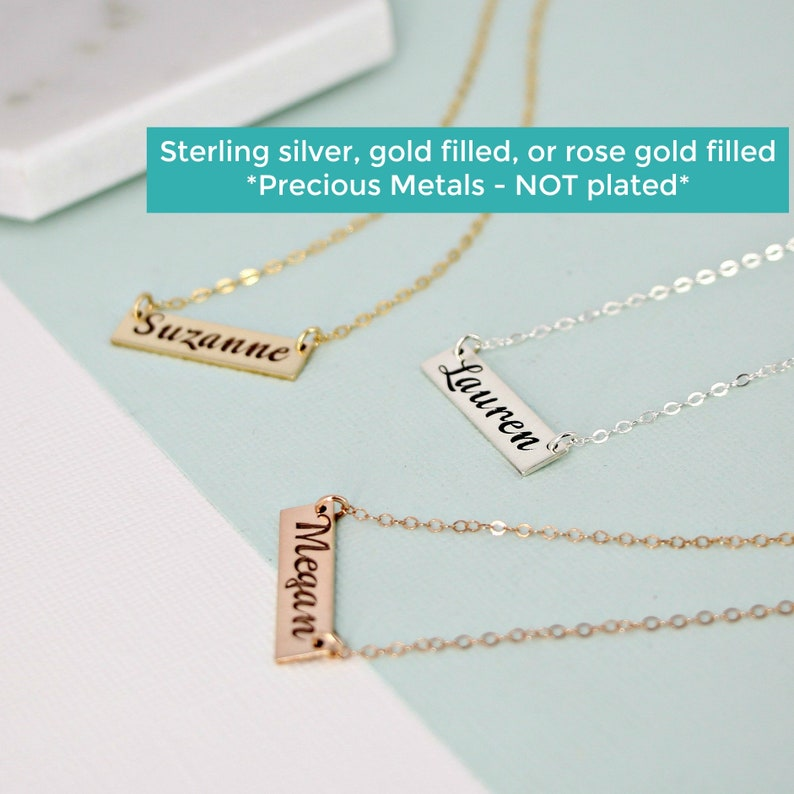 50e21047701 Personalized Bar Necklace Single Name Plate Necklace Bar Necklace Silver  Gold Bar Necklace Engraved Name Necklace for Her Personalized Gift