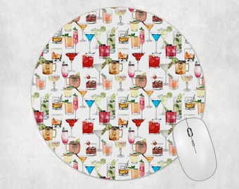 Fun Mouse Pad   Cocktail Drinks Office Desk Accessories   Office Decor for Women   Desk Accessories   Gift for Friend   Coworker Gift
