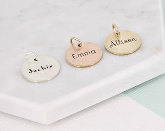 "Personalized name charm • 5/8"" Name Charm • Personalized Charm • Gold filled personalized charm • Gold-filled, Sterling silver, or Rose GF"