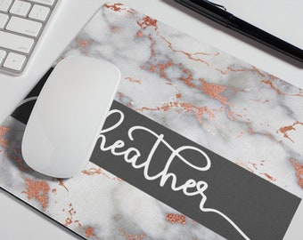 Personalized Mouse Pad   Gray White Rose Gold Marble Name Mousepad   Office Decor   Desk Accessories   Personalized Gift   Coworker Gift
