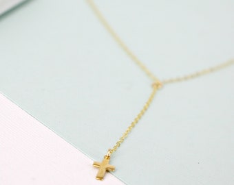 Gold Y lariat cross necklace - Long Gold lariat necklace - Layering necklace - Gold filled lariat necklace with tiny gold cross - WM113
