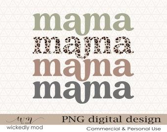 Mama PNG Digital Print File for Sublimation or Print   Earth Tones Mama   Sublimation Download   Leopard Print Design   Shirt Design   PNG