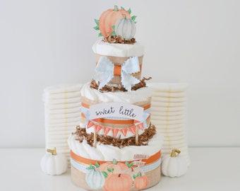Pumpkin Baby Shower Diaper Cake, Fall Baby Shower Decoration, Little Pumpkin Centerpiece, Blue Gingham, Baby Boy Gift