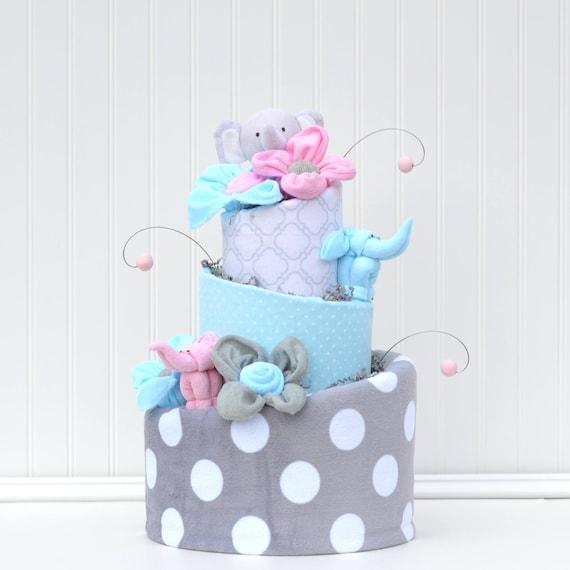 Girl Elephant Baby Shower Diaper Cake Pink Elephant Shower
