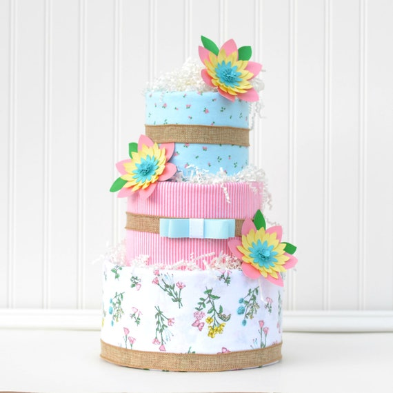 Flower Baby Shower Cake: Girl Floral Baby Shower Diaper Cake Centerpiece, Pink