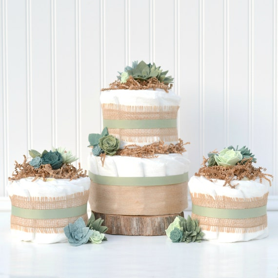 Neutral Succulent Baby Shower Diaper Cake Decoration Package Etsy