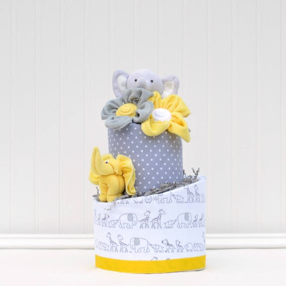 Gray And Yellow Elephant Baby Shower Diaper Cake By Baby Blossom