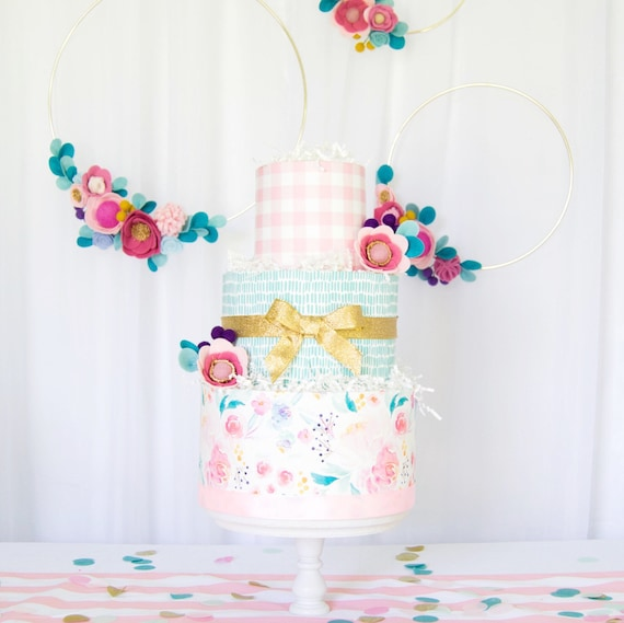 Watercolor Floral Baby Shower Diaper Cake Baby Girl Floral Diaper