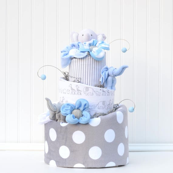 Elephant Baby Shower Decorations Baby Boy Shower Centerpieces Elephant Shower Decor Blue And Gray Diaper Cake Cake Table Centerpiece