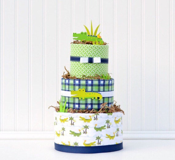 Alligator Baby Shower Diaper Cake Gift For Baby Boy In Green And