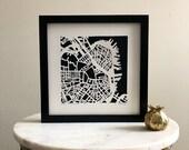 Boston, South Boston, Cambridge, or Newburyport, MA Hand Cut Map Artwork