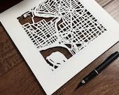 Custom Hand Cut Map ORIGINAL Artwork, 10x10. Mid-May completion.