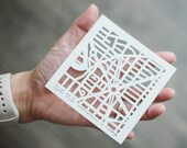 "Custom Miniature Hand Cut Map ORIGINAL Artwork. 4""x4""."