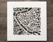 Rome, Florence, Venice, Milan, Capri, Anacapri or Siena, Italy Hand Cut Map Artwork