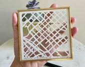 Custom Miniature Hand Cut Map ORIGINAL Artwork. 4x4. JAN completion