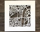 London, UK or Copenhagen, Denmark Hand Cut Map Original Artwork, 10x10