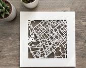 Virginia Tech, UVA, University of Richmond, William & Mary, Hand Cut Map Original Artwork