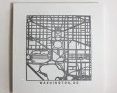 Washington, DC or Richmond, VA Letterpress Map Print
