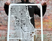 "Chicago, Illinois Hand Cut Map Artwork. 22""x30"""
