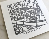 Florence or Rome, Italy, Letterpress Map Prints