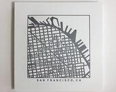 San Francisco or San Diego, CA Letterpress Map Prints