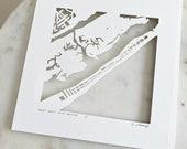 Topsail Beach, Kure Beach, Corolla, NC Hand Cut Map Artwork