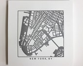 Nyc or Brooklyn, NY Letterpress Map Print