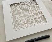 Michigan State, Notre Dame, or Northwestern hand cut map