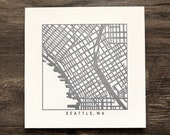 Seattle or Portland pressed map prints