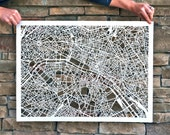 "Paris Hand Cut Map Artwork, 22""x30"""