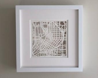 Atlanta, Athens, Macon, or Norcross, Georgia Hand Cut Map Original Artwork