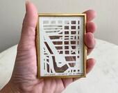 Custom Mini Hand Cut Map ORIGINAL Artwork, Framed.