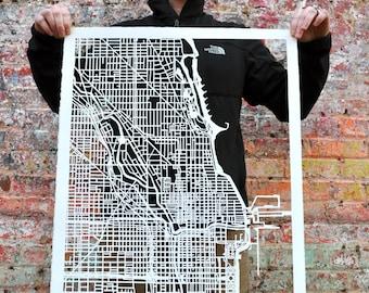 "Chicago, Illinois Hand Cut Map Original Artwork. 22""x30"""