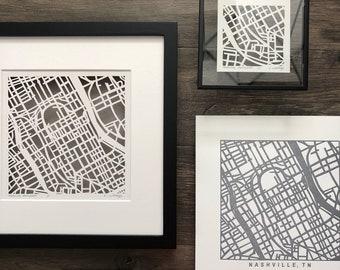Nashville or Memphis, Tennessee, Letterpress Map Prints