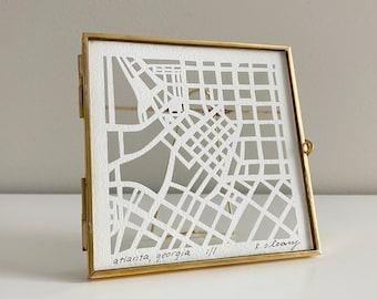 Custom Miniature Hand Cut Map ORIGINAL Artwork. 4x4.