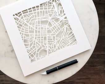Greenville, West Greenville, Spartanburg, or Taylors, SC Hand Cut Paper Map, 10x10