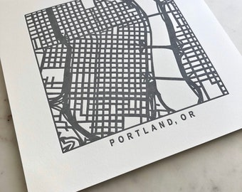 Portland, Oregon or Seattle, Washington, Letterpress Map Prints