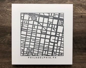 Philadelphia, Pittsburgh, South Philadelphia, Letterpress Map Prints