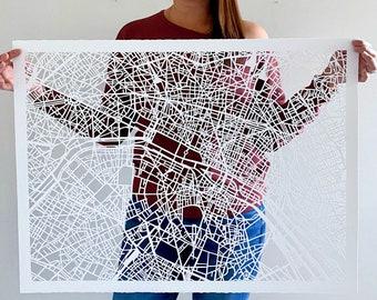 "Paris, France Hand Cut Map Original Artwork, 22""x30"""