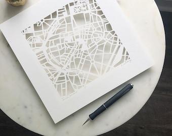 Studio KMO Custom Hand Cut Map, Original Artwork. 10x10.