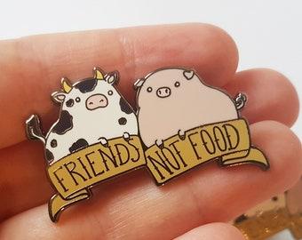 Vegan enamel pin, friends not food, kawaii lapel pin, vegan gift, cute animal badge, vegetarian gift