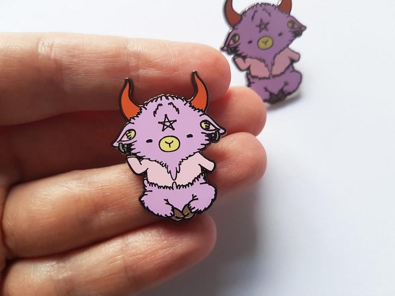 541526280e52 Cute baphomet enamel pin kawaii baphomet occult lapel pin