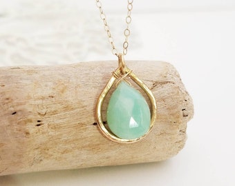 Peruvian Blue Opal necklace, modern gold necklace, boho jewelry, bohemian girl, statement necklace, turquoise jewelry, beachy necklace
