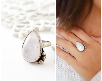 Moonstone ring - Teardrop moonstone sterling silver statement ring, .925 sterling silver statement ring, by Tidepools Jewelry, everyday ring